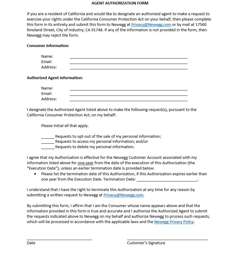CCPA Agent Authorization Form